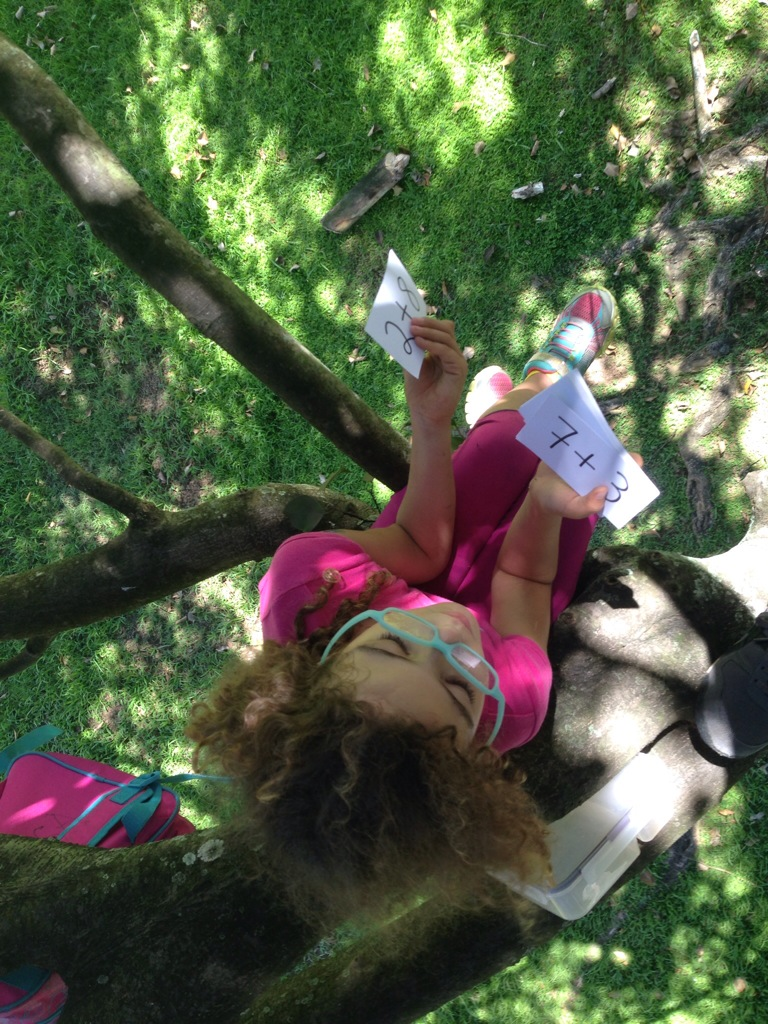 No better time to practice our Combinations of 10 cards than while hanging up a tree.